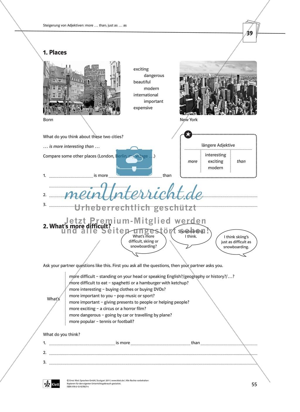 Arbeitsblätter für einen kommunikativen Grammatikunterricht: Steigerung von Adjektiven Preview 2