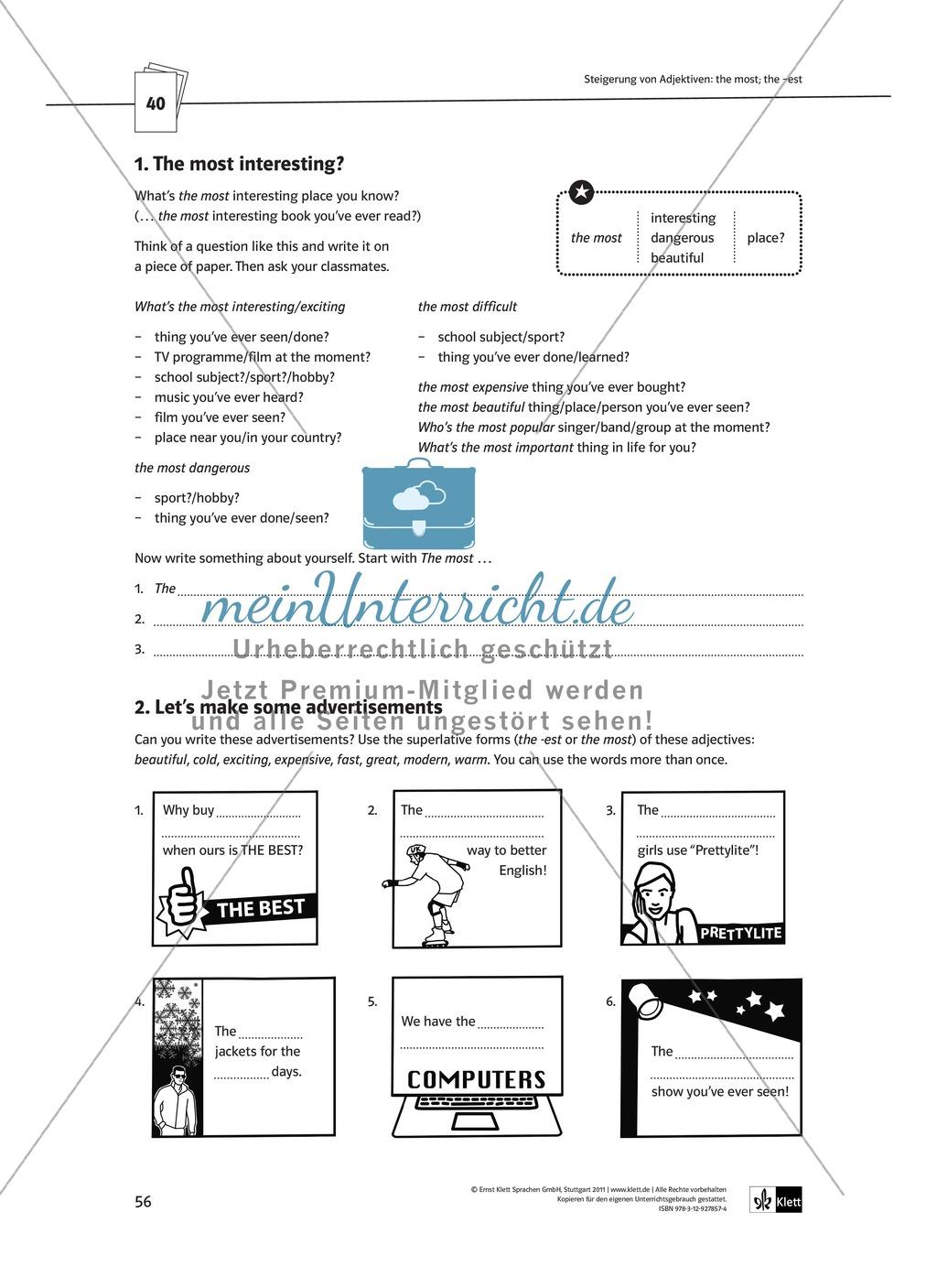 Arbeitsblätter für einen kommunikativen Grammatikunterricht: Steigerung von Adjektiven Preview 3