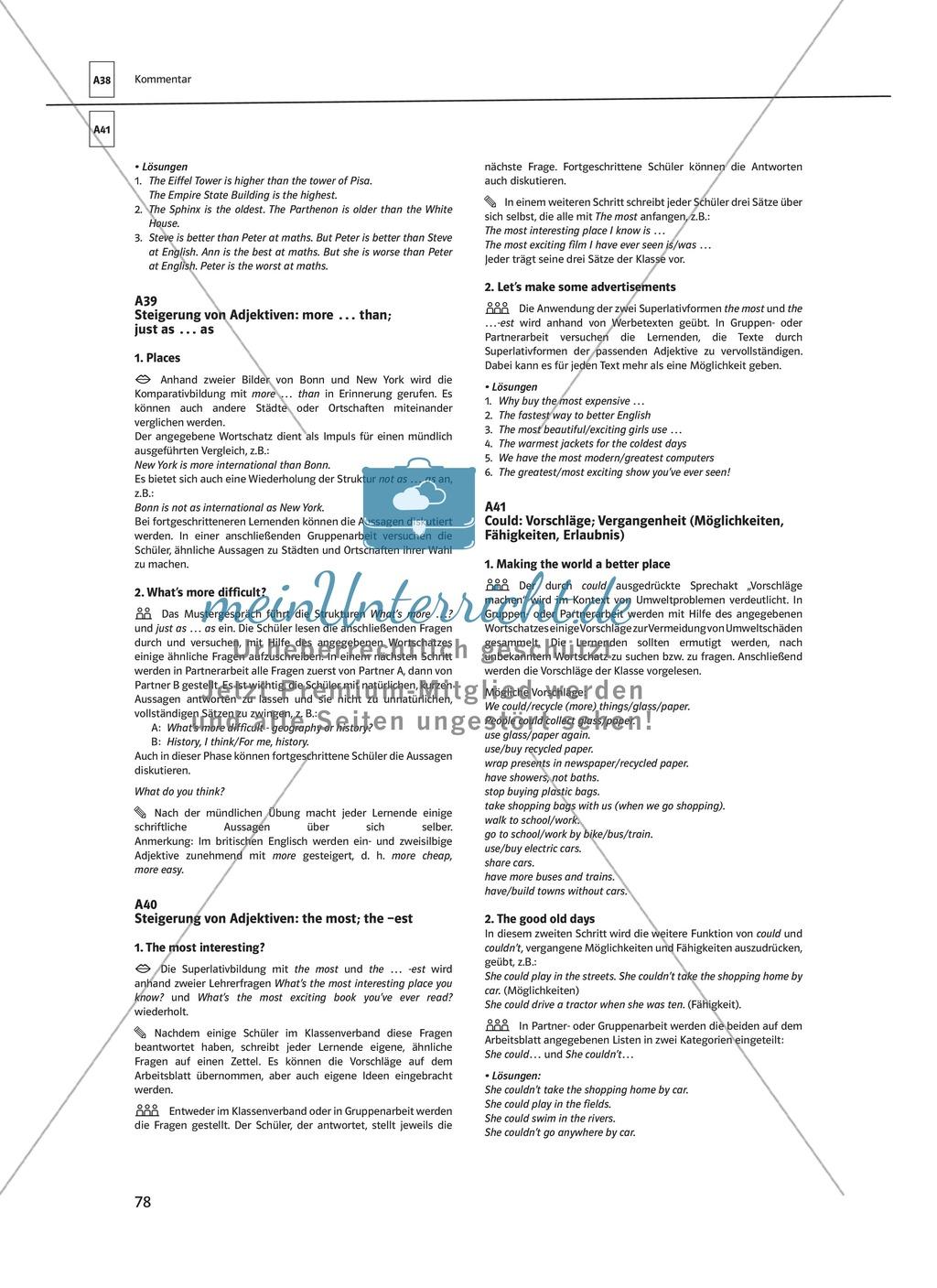 Arbeitsblätter für einen kommunikativen Grammatikunterricht: Steigerung von Adjektiven Preview 5