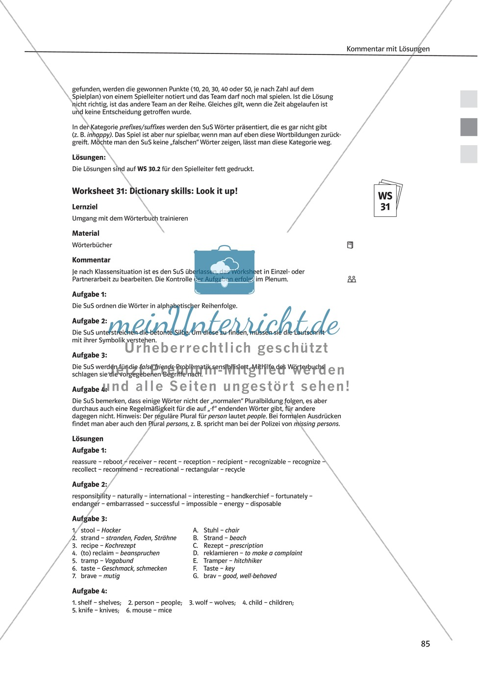 Arbeitsblätter für Vertretungsstunden in den Klassen 7 und 8 Preview 26