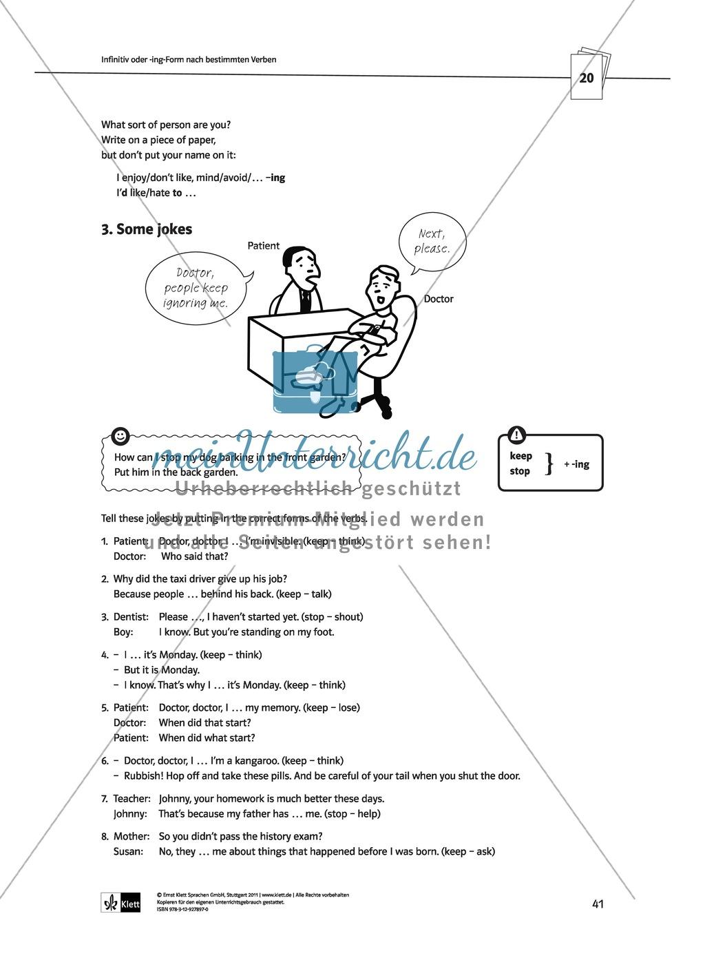 Englische Grammatik üben: Arbeitsblätter zu Infinitiv + -ing ...