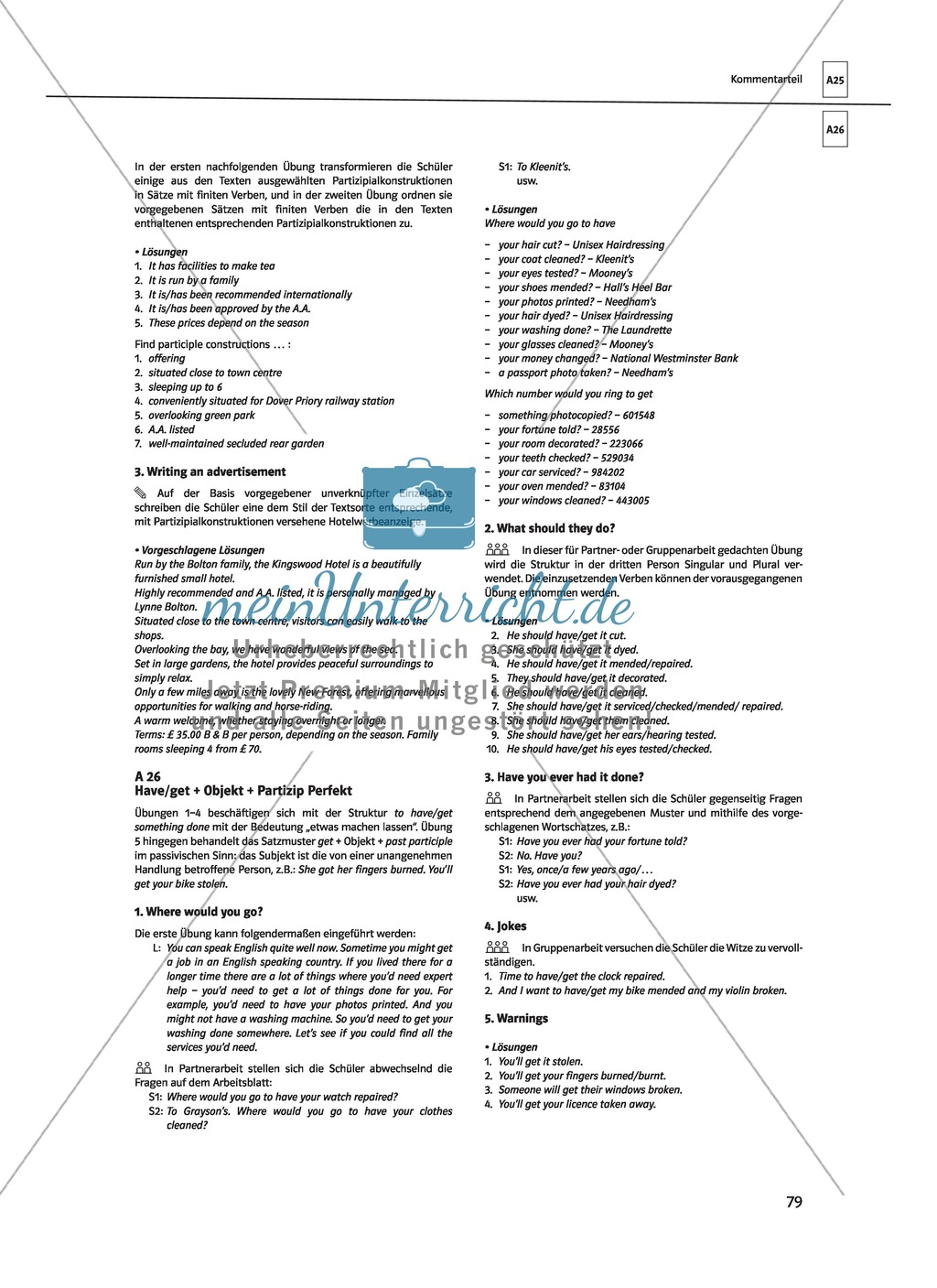 Englische Grammatik üben: Arbeitsblätter zu Partizipien - meinUnterricht