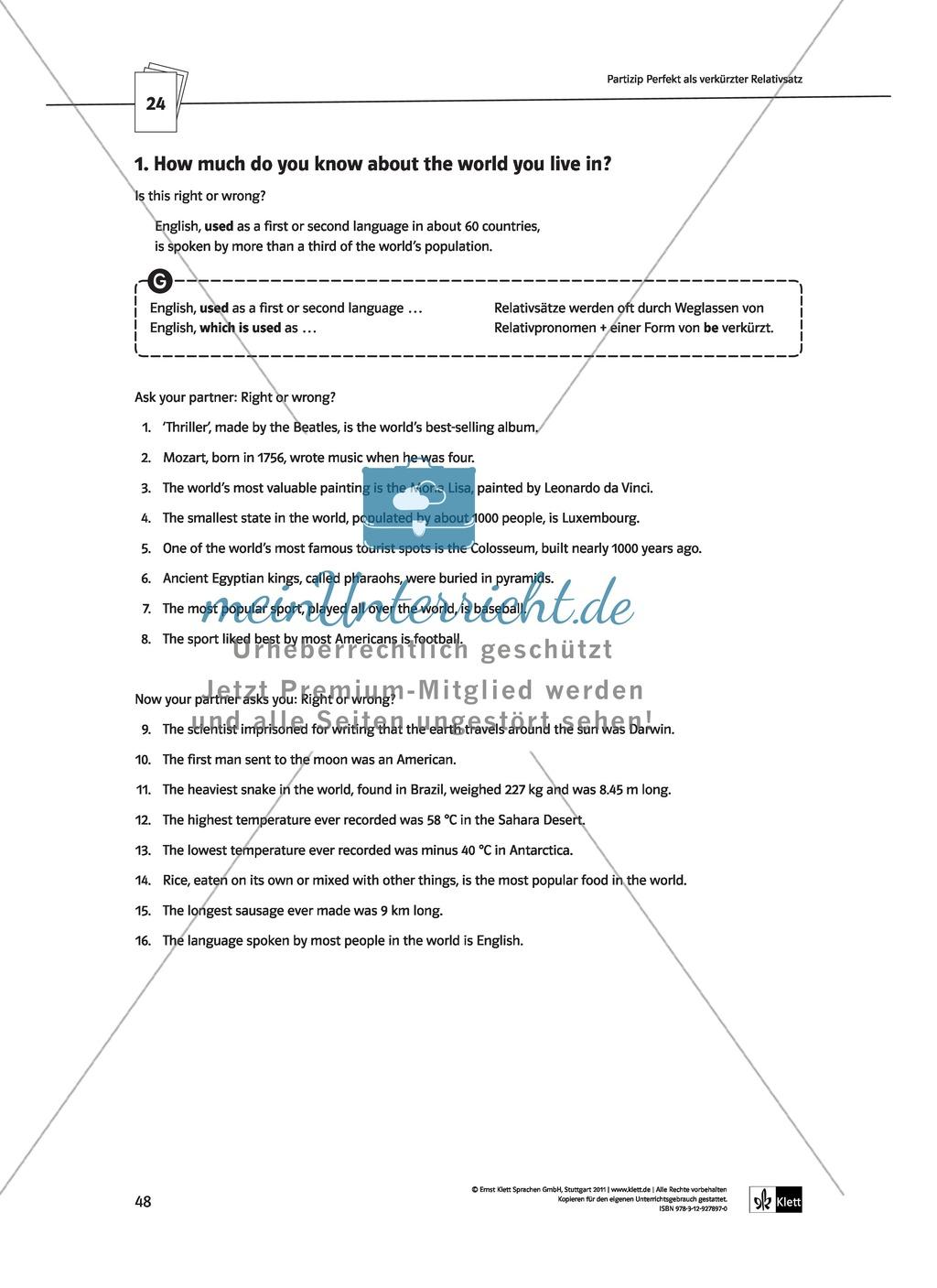 Englische Grammatik üben: Arbeitsblätter zu Partizipien Preview 3