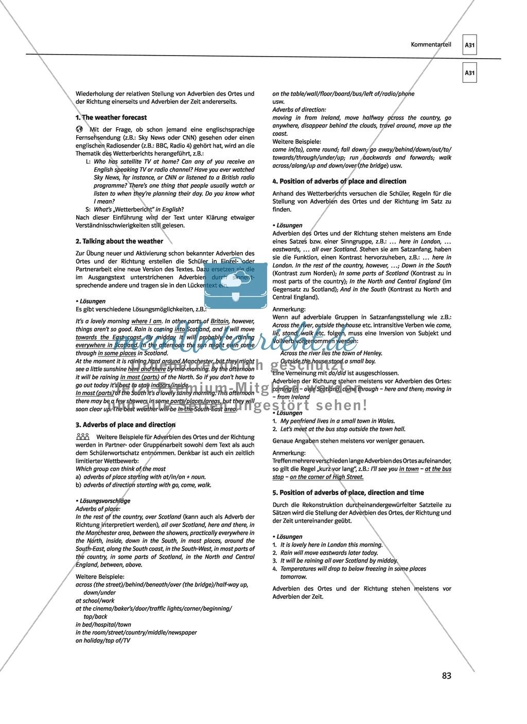 Englische Grammatik üben: Arbeitsblätter zu Adverbien - meinUnterricht