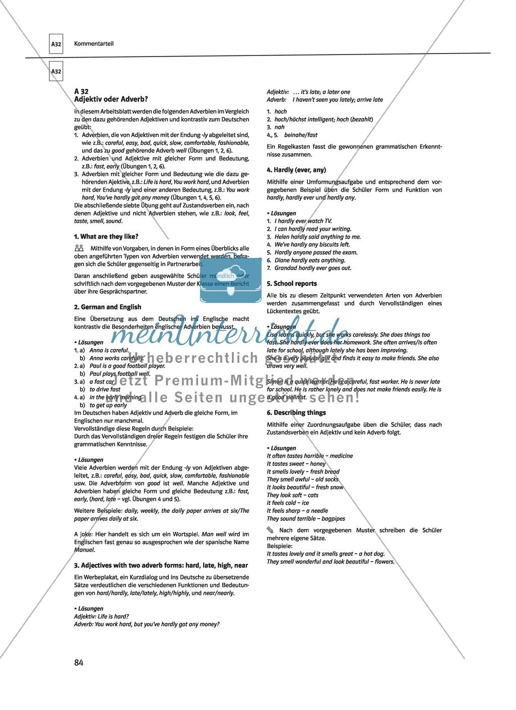Fantastic Adverb Und Adjektiv Arbeitsblatt Component - Kindergarten ...