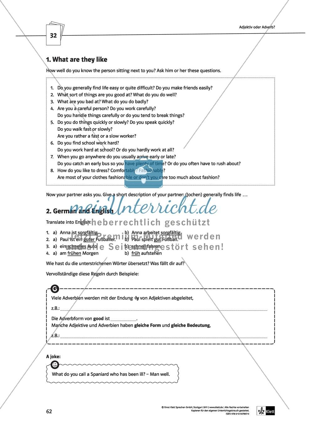 Modern Adjektiv Und Adverb Arbeitsblatt Für Die High School ...