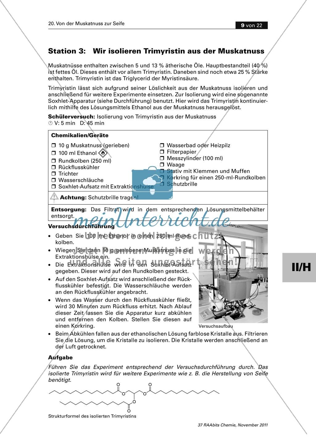 Das Triglycerid Trimyristin - Isolierung aus der Muskatnuss und Untersuchung der Eigenschaften Preview 0