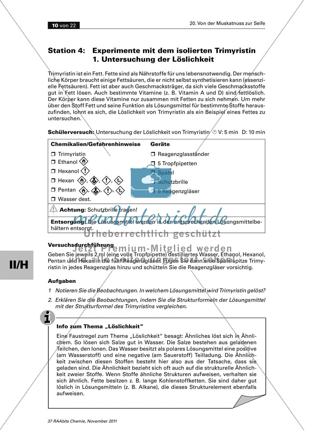 Das Triglycerid Trimyristin - Isolierung aus der Muskatnuss und Untersuchung der Eigenschaften Preview 1