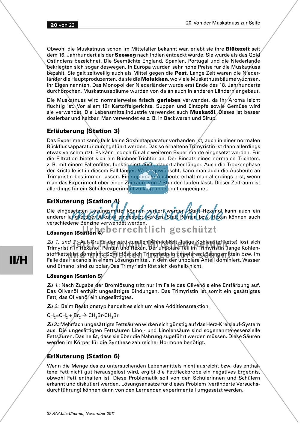 Das Triglycerid Trimyristin - Isolierung aus der Muskatnuss und Untersuchung der Eigenschaften Preview 4