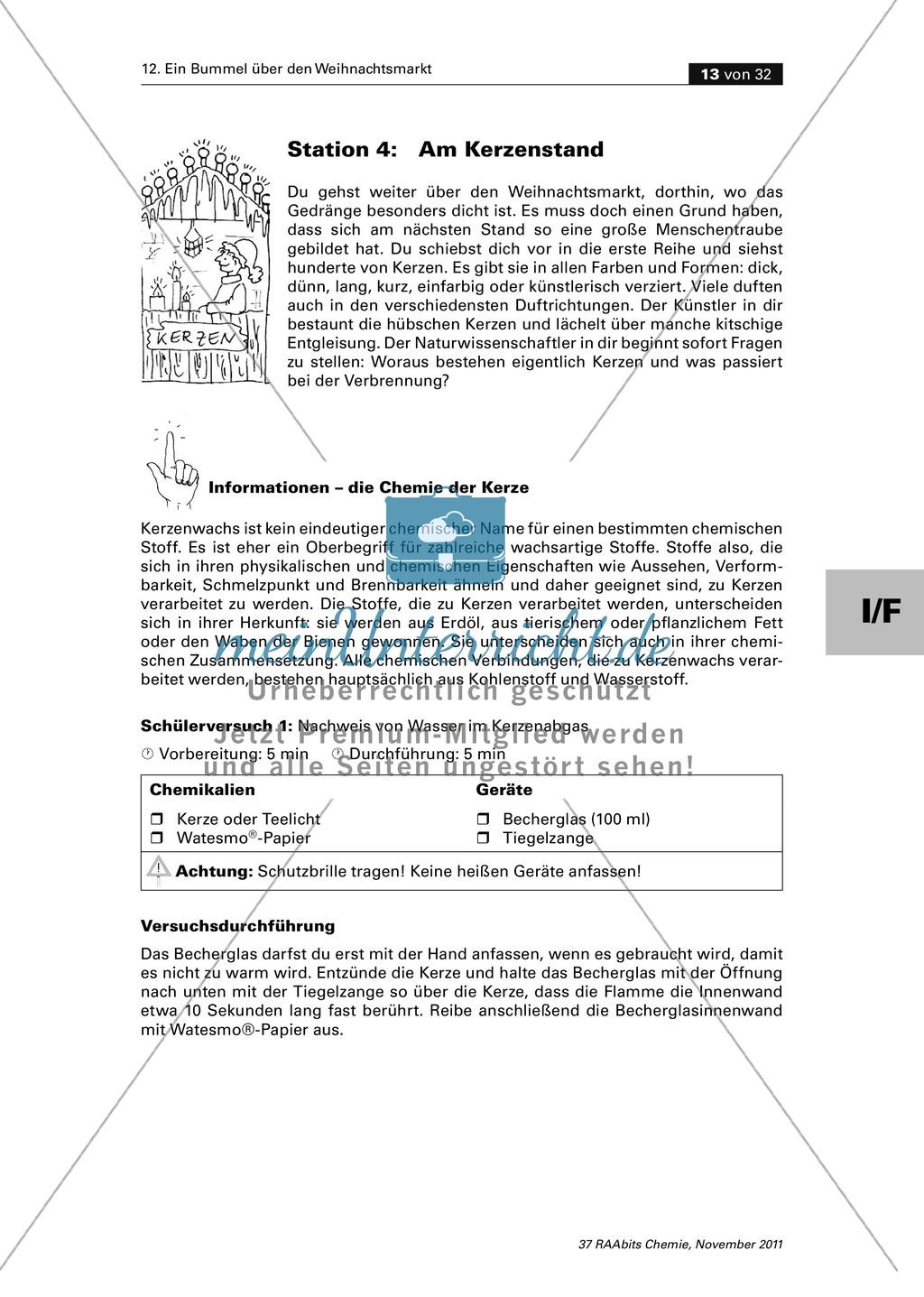 Kerzen - Eigenschaften von Wachsen und Nachweis der Inhaltsstoffe im Kerzenabgas Preview 1
