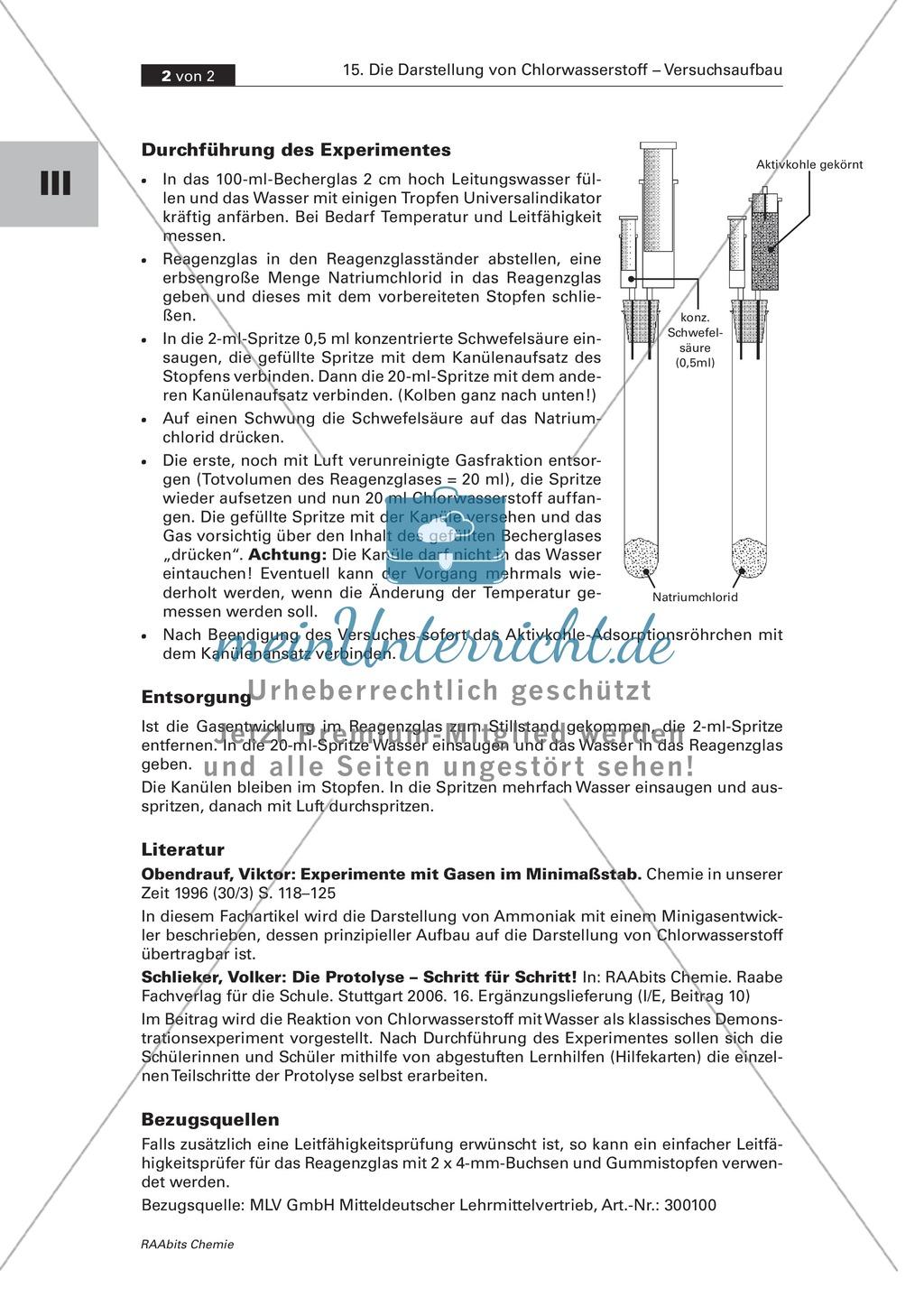 Darstellung von Chlorwasserstoff im Minimaßstab als Schülerversuch Preview 1