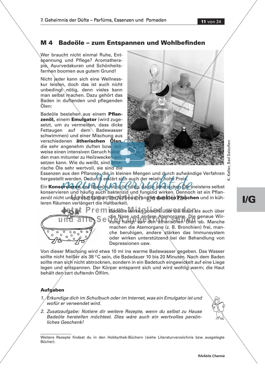 Herstellung verschiedener Badeöle aus ätherischen Ölen, Pflanzenfett und einem Emulgator Preview 0