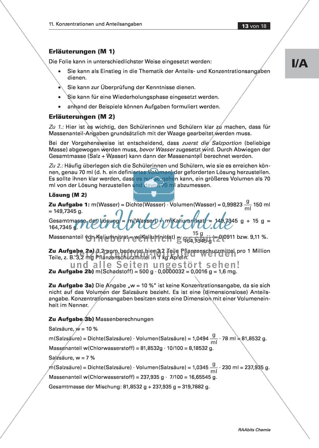 Informationen, Übungen und Schülerversuche zu Massenanteil und Massenkonzentration Preview 3