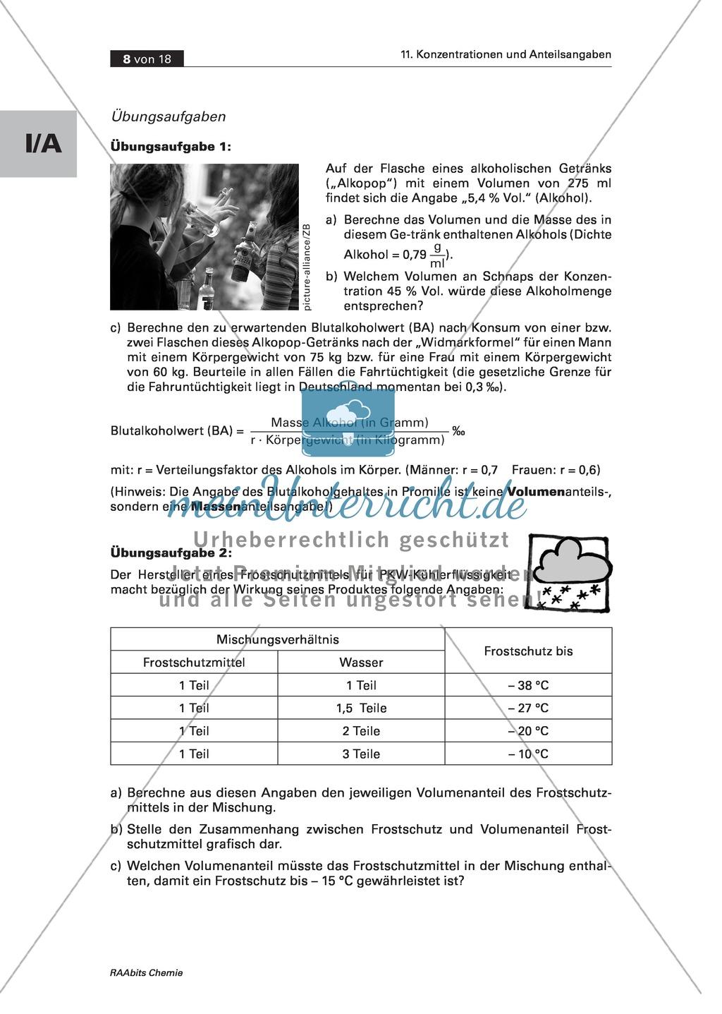 Informationen, Übungen und Schülerversuche zu Volumenanteil und Volumenkonzentration Preview 1