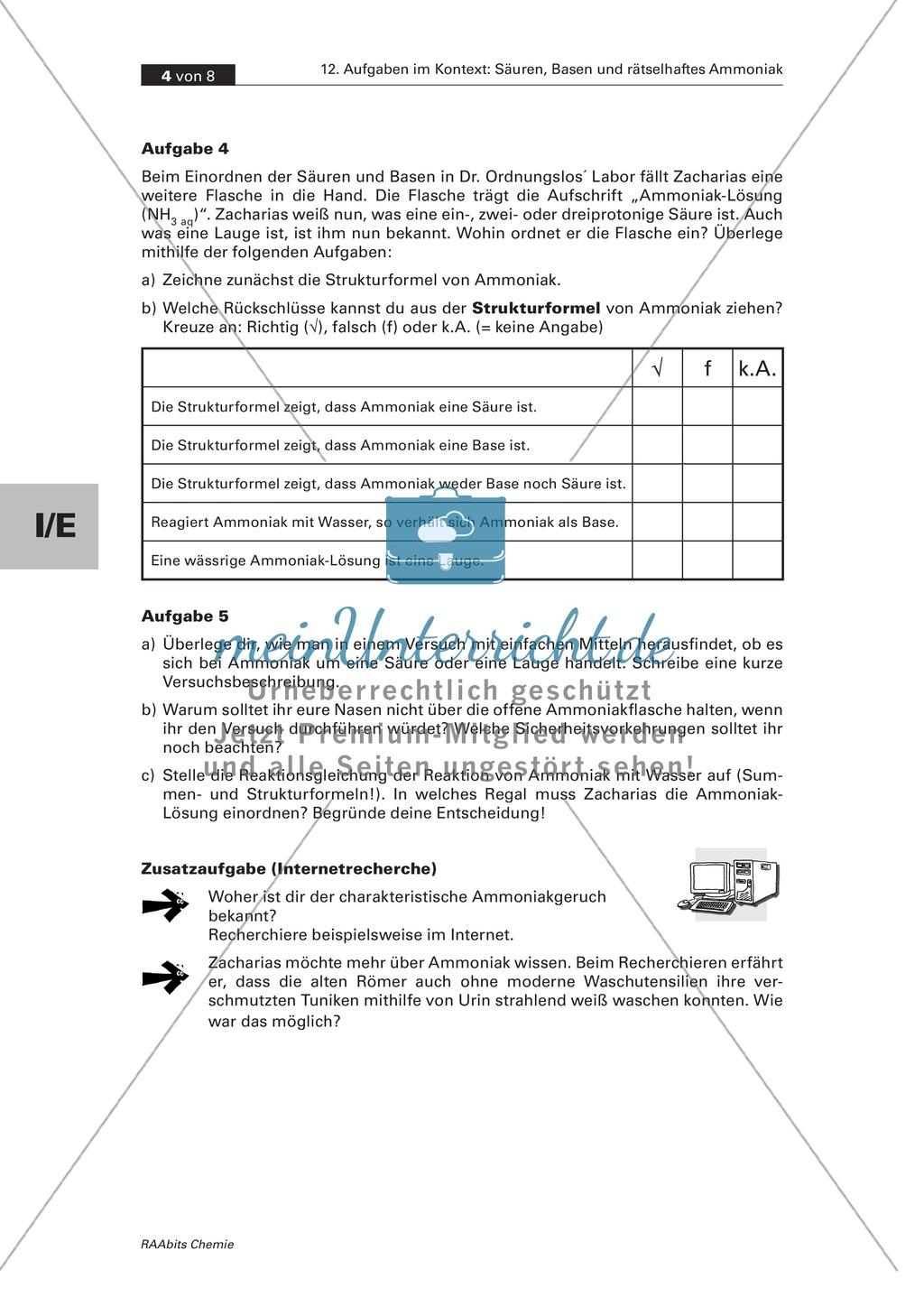 Kontextbezogene Aufgaben zur Festigung der Säure-Base-Theorie nach Brönsted und der Chemie von Ammoniak Preview 3