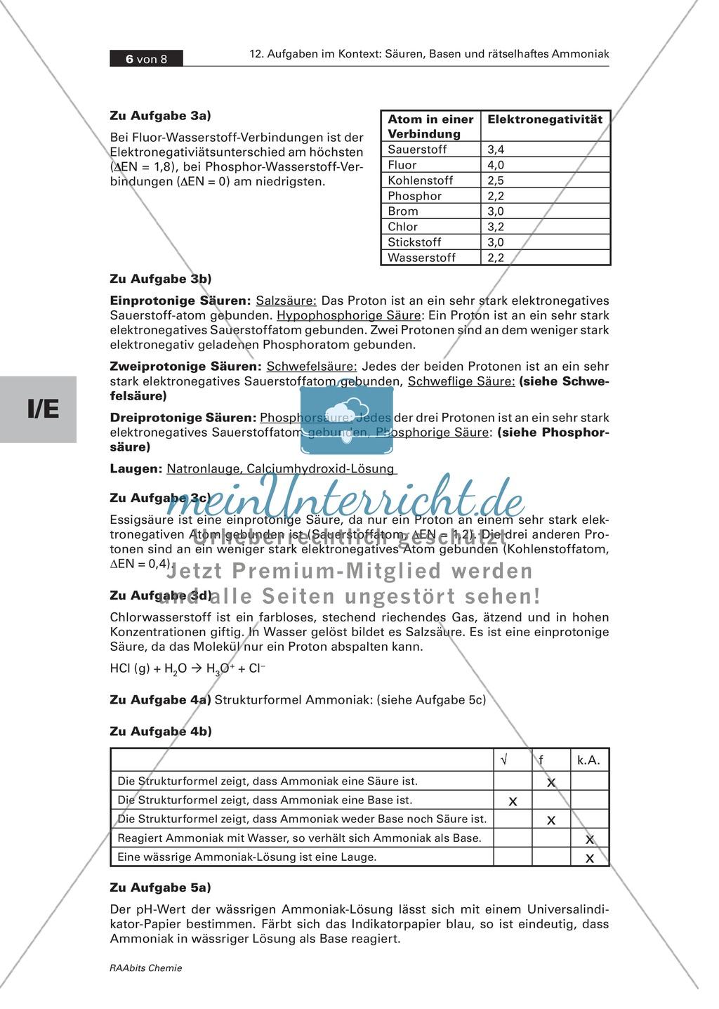 Kontextbezogene Aufgaben zur Festigung der Säure-Base-Theorie nach Brönsted und der Chemie von Ammoniak Preview 5