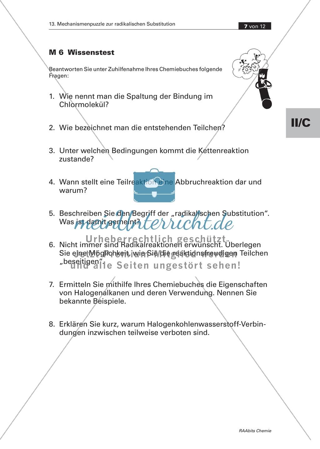 Radikalische Substitution am Beispiel Bromierung von Heptan: Experiment, Mechanismenpuzzle, Beilsteinprobe, Wissenstest Preview 4