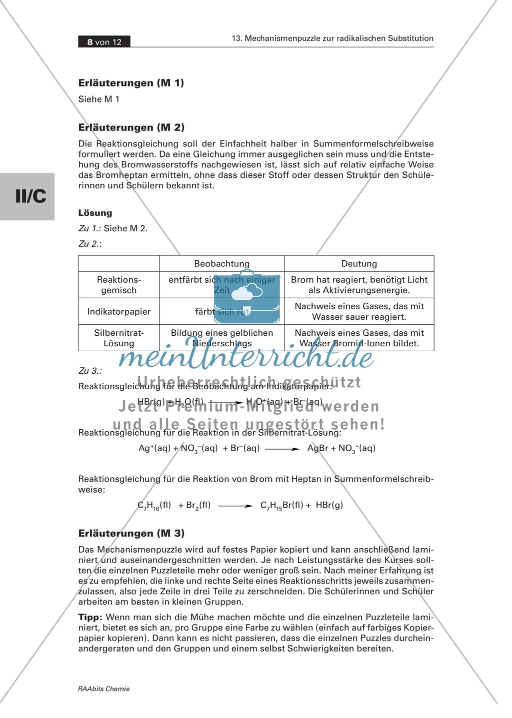 Radikalische Substitution am Beispiel Bromierung von Heptan: Experiment, Mechanismenpuzzle, Beilsteinprobe, Wissenstest Preview 5