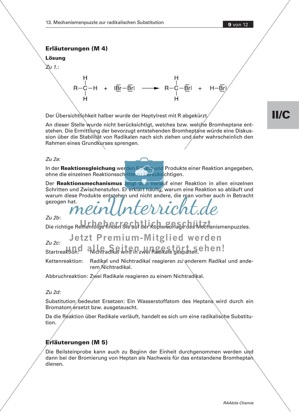 Radikalische Substitution am Beispiel Bromierung von Heptan: Experiment, Mechanismenpuzzle, Beilsteinprobe, Wissenstest Preview 6