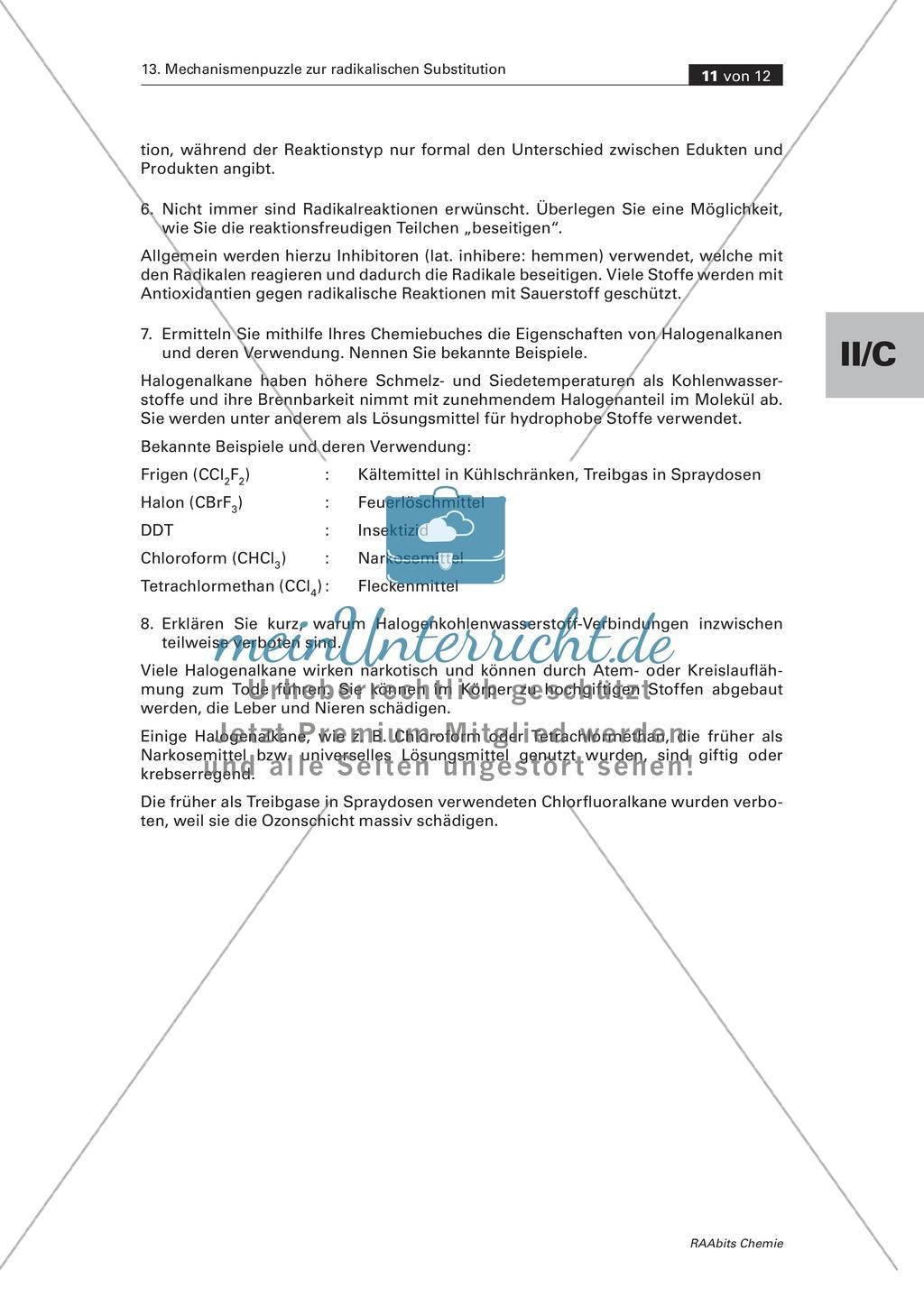 Radikalische Substitution am Beispiel Bromierung von Heptan: Experiment, Mechanismenpuzzle, Beilsteinprobe, Wissenstest Preview 8