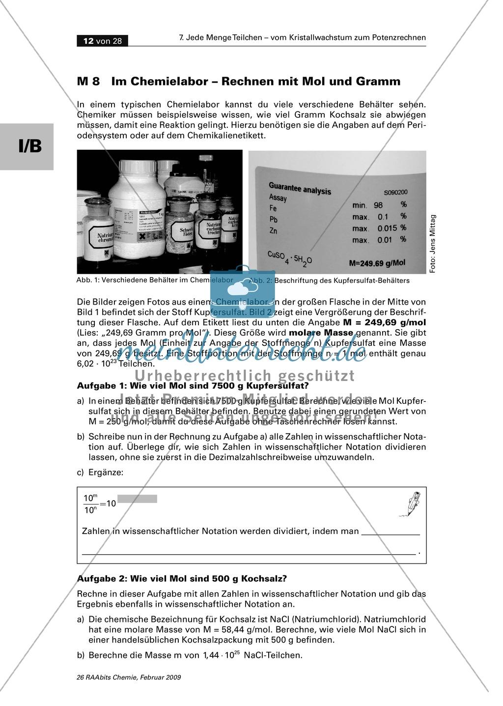 Rechnen mit Mol und Gramm - Einführung der molaren Masse mit Übungen ...