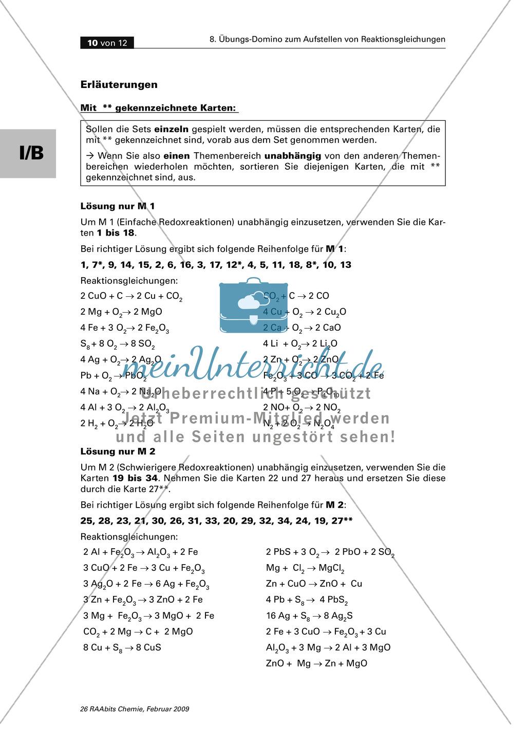 Übungs-Domino zum Aufstellen von verschiedenen Reaktionsgleichungen Preview 5
