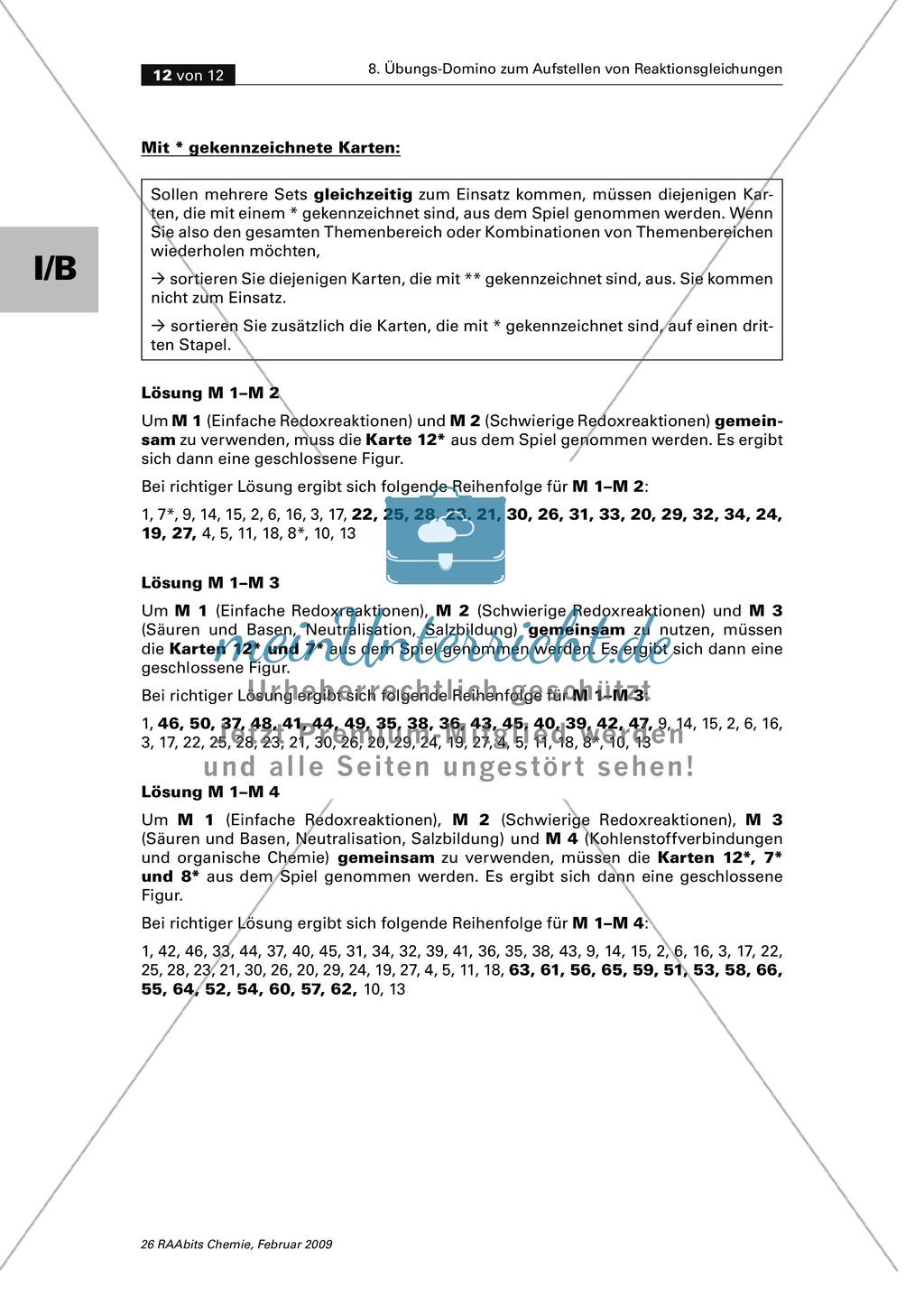 Übungs-Domino zum Aufstellen von verschiedenen Reaktionsgleichungen Preview 7