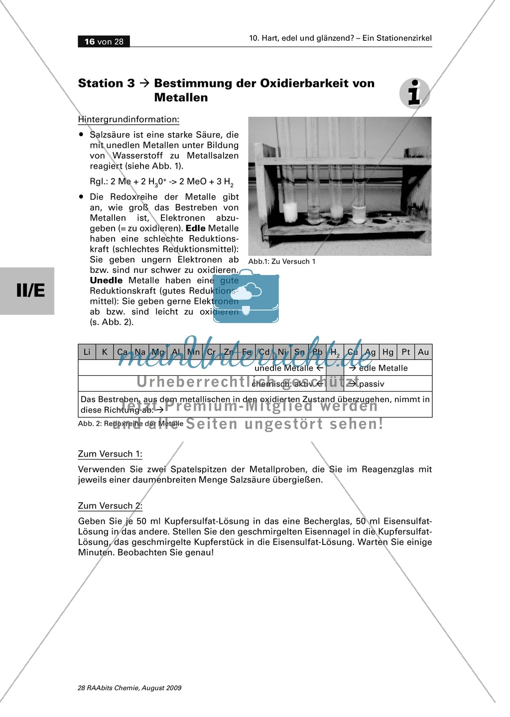 Edel oder Unedel: Korrosionsbeständigkeit und Verdrängungsreihe der Metalle Preview 1