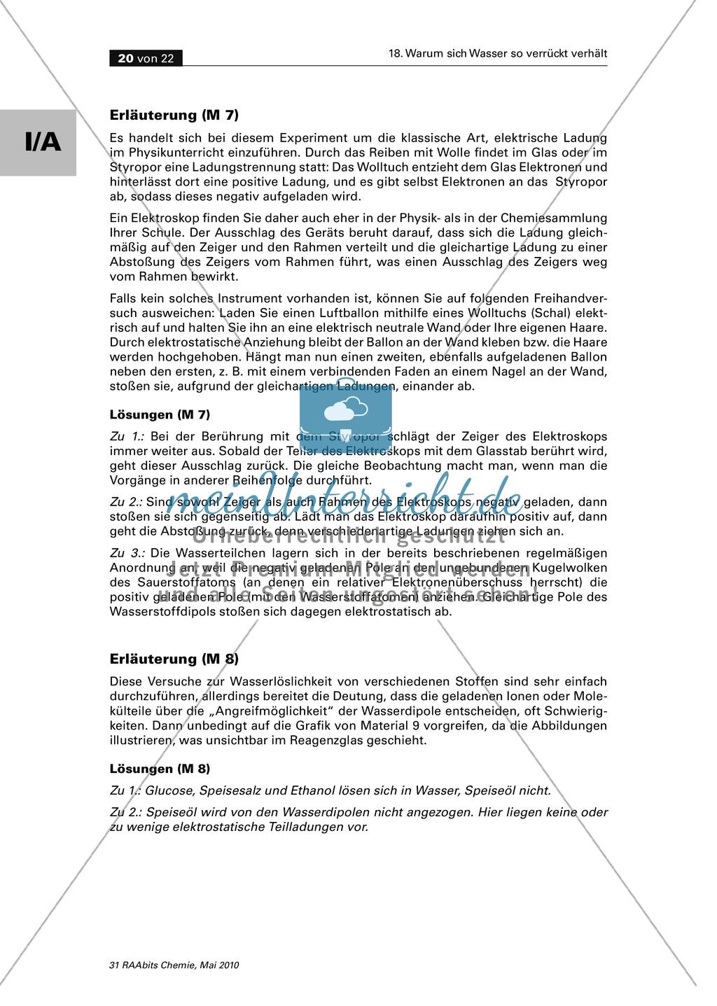 Wasser ein polarer Stoff - Wasserstoffbrückenbindungen und Dipoleigenschaften Preview 9