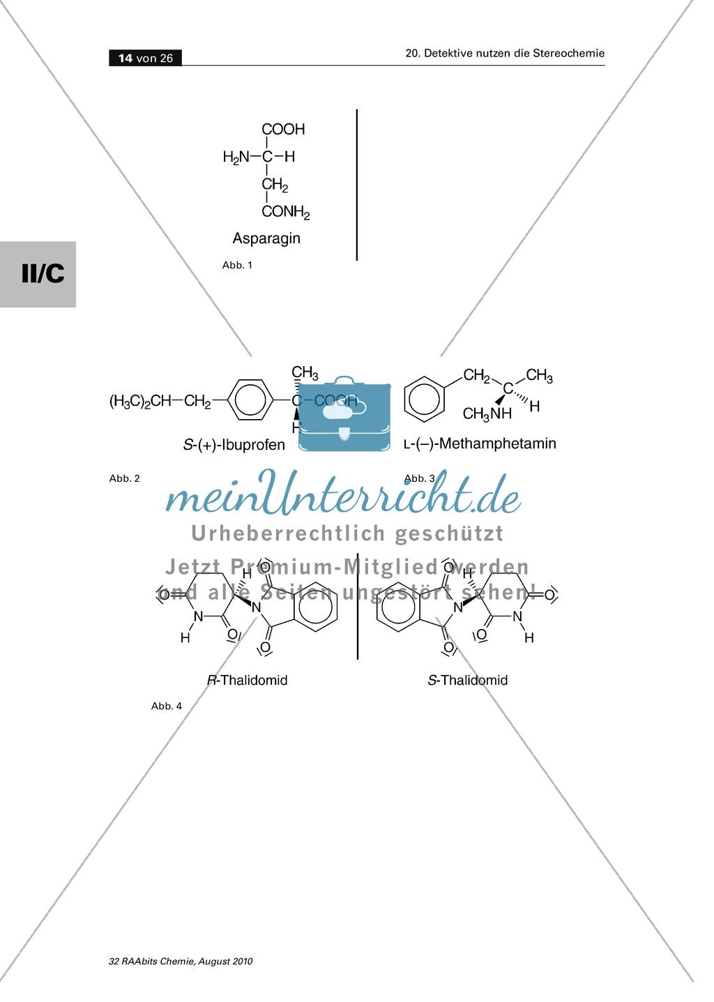 Die Stereochemie im spannenden Kontext: Aufklärung eines fiktiven Todesfalls durch L-(+)-Muscarin (Fliegenpilze) Preview 9