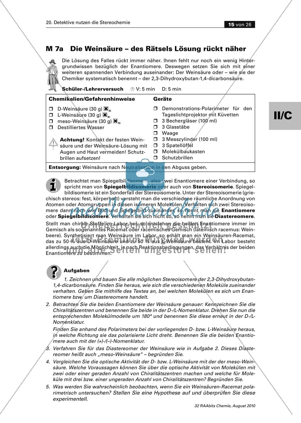 Die Stereochemie im spannenden Kontext: Aufklärung eines fiktiven Todesfalls durch L-(+)-Muscarin (Fliegenpilze) Preview 10