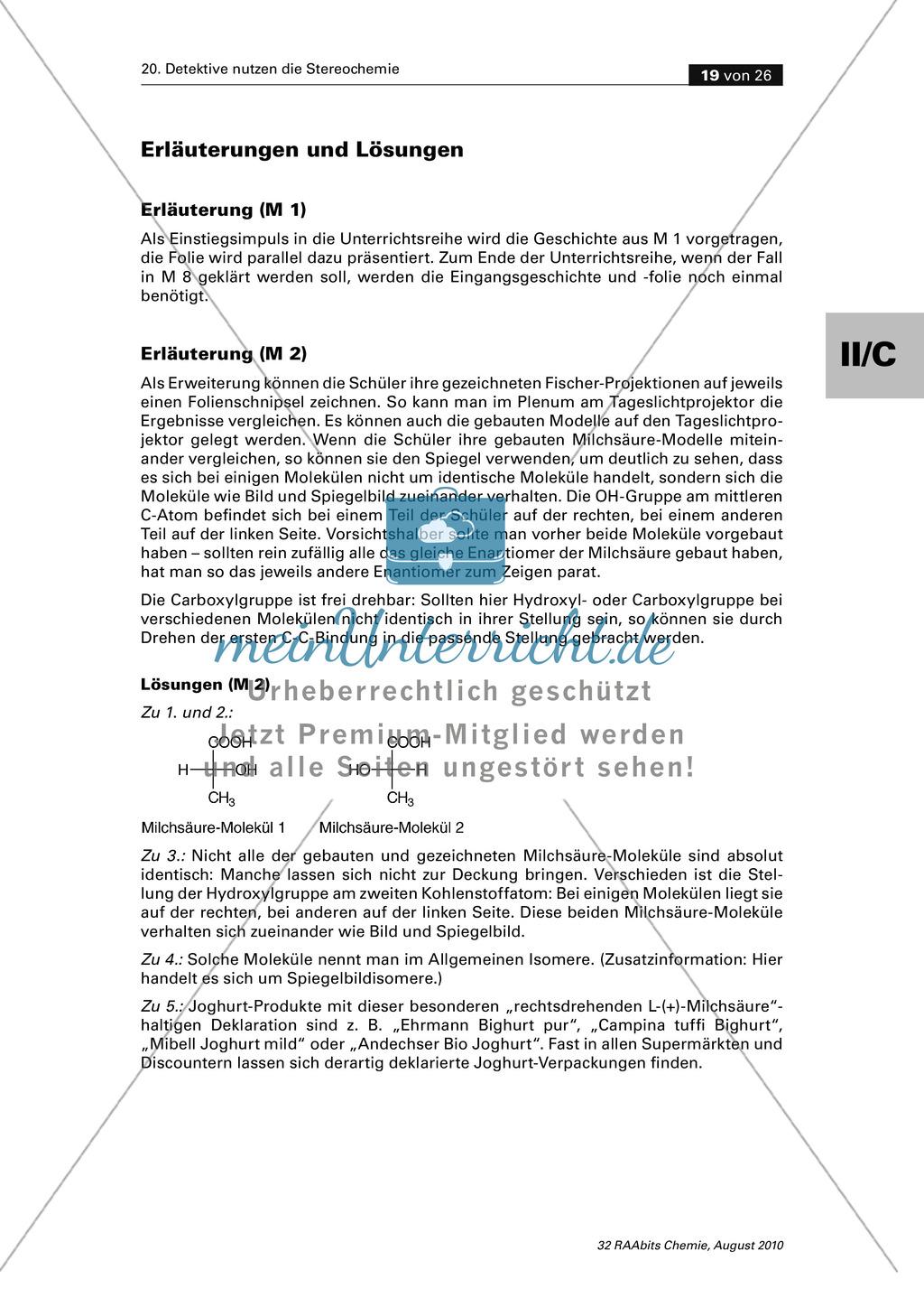 Die Stereochemie im spannenden Kontext: Aufklärung eines fiktiven Todesfalls durch L-(+)-Muscarin (Fliegenpilze) Preview 14