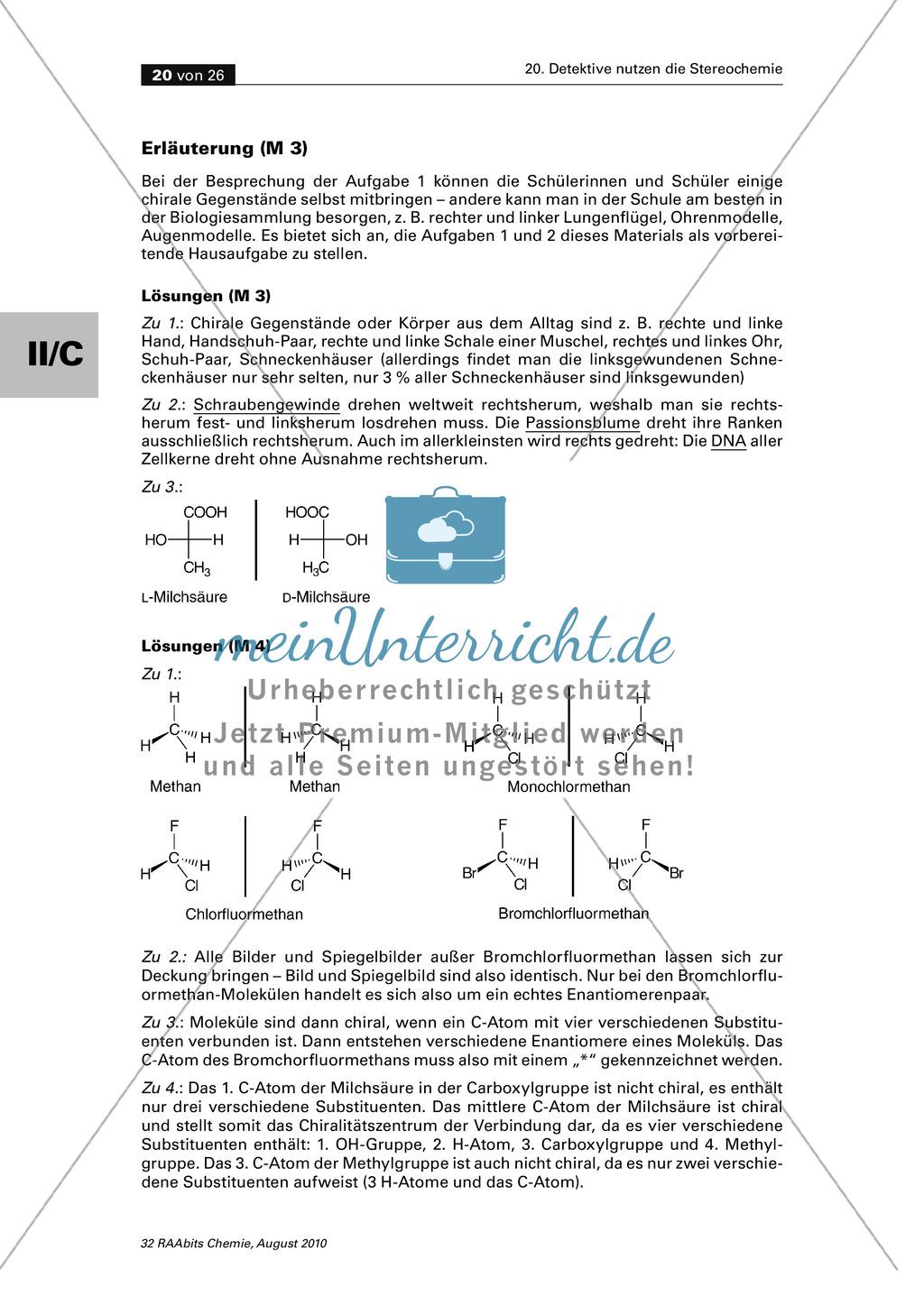 Die Stereochemie im spannenden Kontext: Aufklärung eines fiktiven Todesfalls durch L-(+)-Muscarin (Fliegenpilze) Preview 15