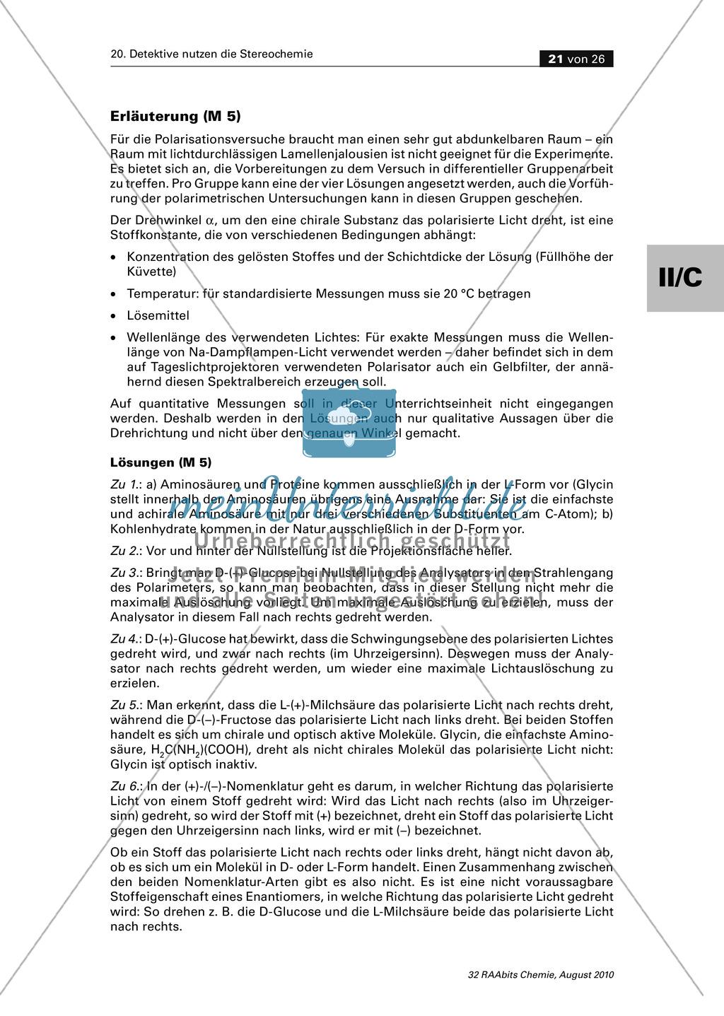 Die Stereochemie im spannenden Kontext: Aufklärung eines fiktiven Todesfalls durch L-(+)-Muscarin (Fliegenpilze) Preview 16