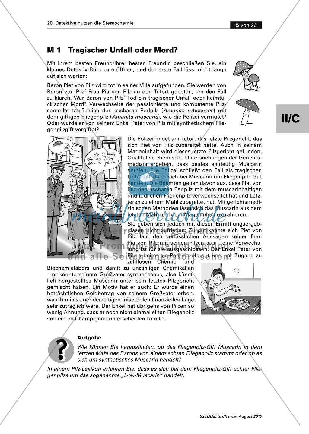 Die Stereochemie im spannenden Kontext: Aufklärung eines fiktiven Todesfalls durch L-(+)-Muscarin (Fliegenpilze) Preview 0