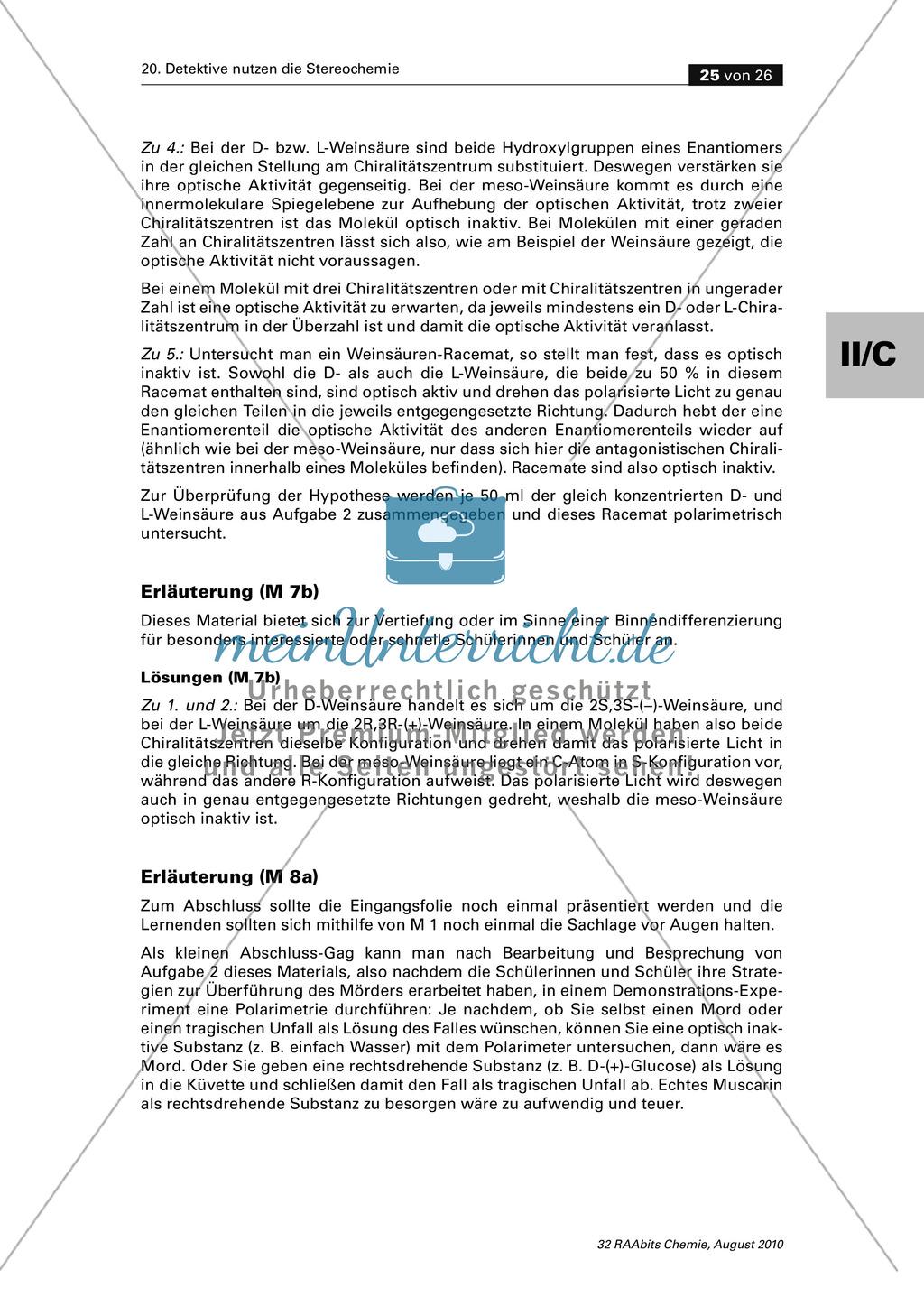 Die Stereochemie im spannenden Kontext: Aufklärung eines fiktiven Todesfalls durch L-(+)-Muscarin (Fliegenpilze) Preview 20