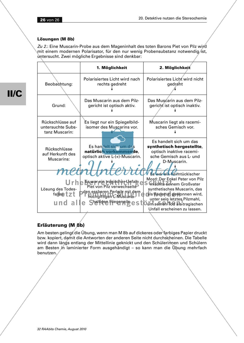 Die Stereochemie im spannenden Kontext: Aufklärung eines fiktiven Todesfalls durch L-(+)-Muscarin (Fliegenpilze) Preview 21