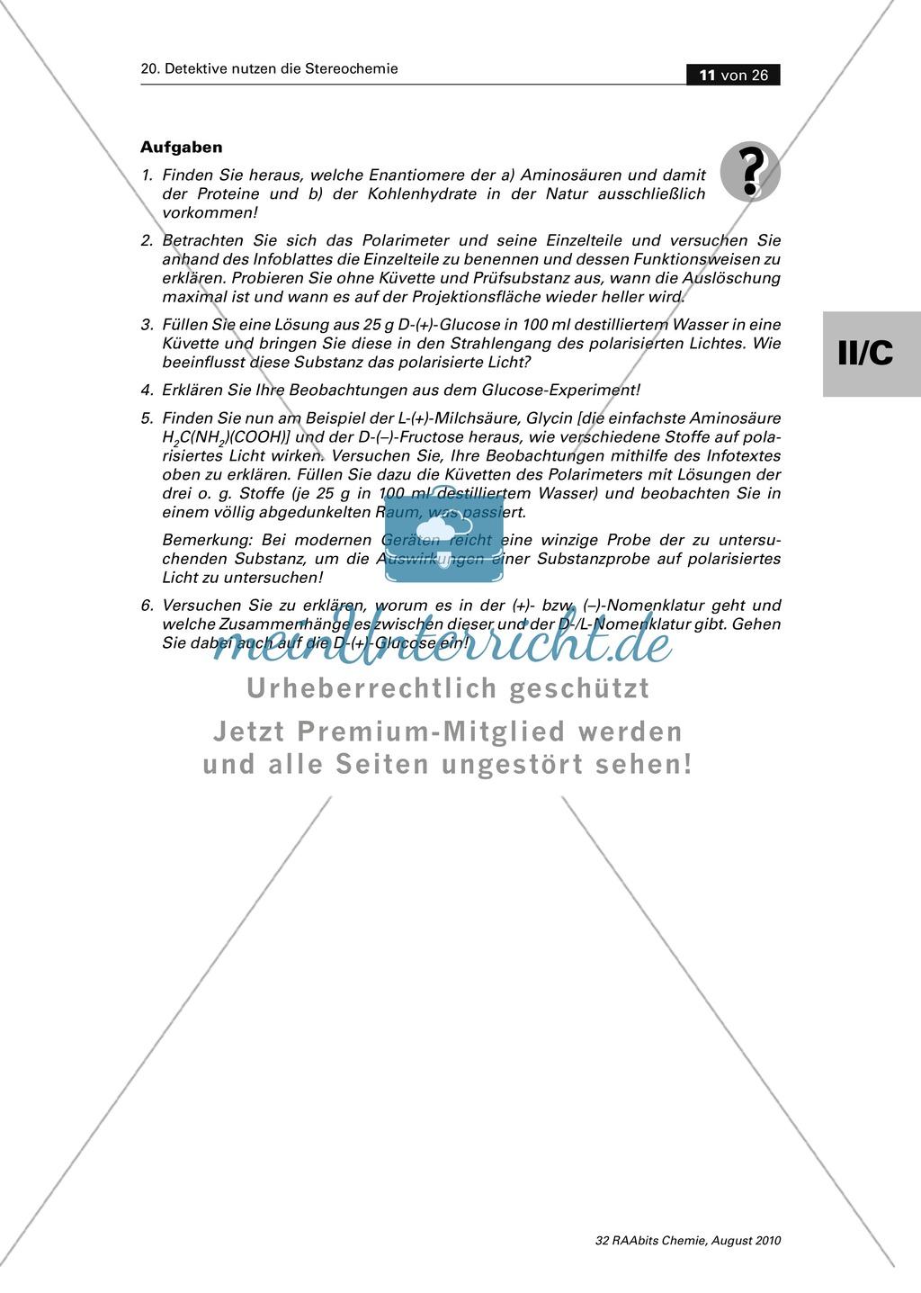 Die Stereochemie im spannenden Kontext: Aufklärung eines fiktiven Todesfalls durch L-(+)-Muscarin (Fliegenpilze) Preview 6