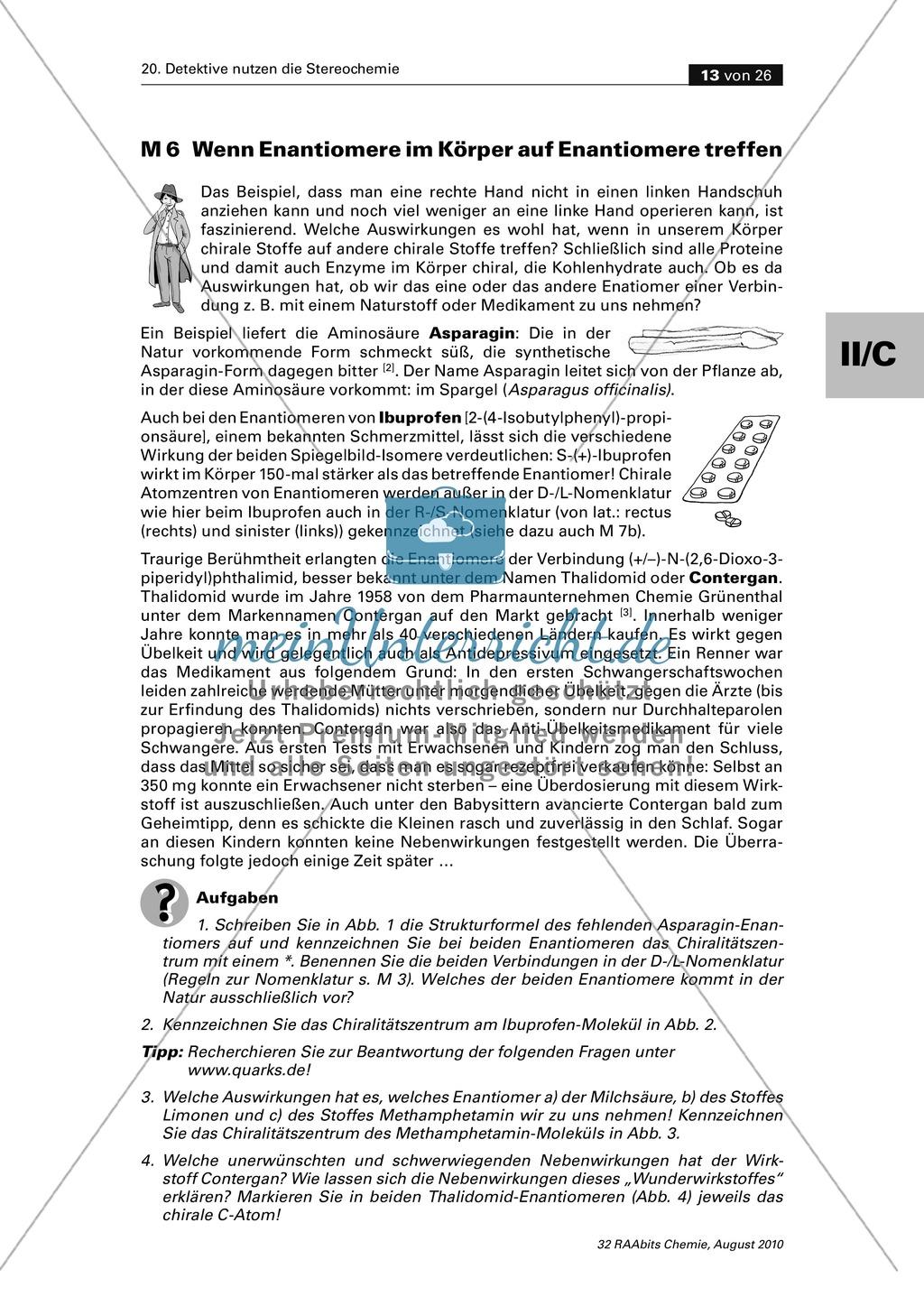 Die Stereochemie im spannenden Kontext: Aufklärung eines fiktiven Todesfalls durch L-(+)-Muscarin (Fliegenpilze) Preview 8