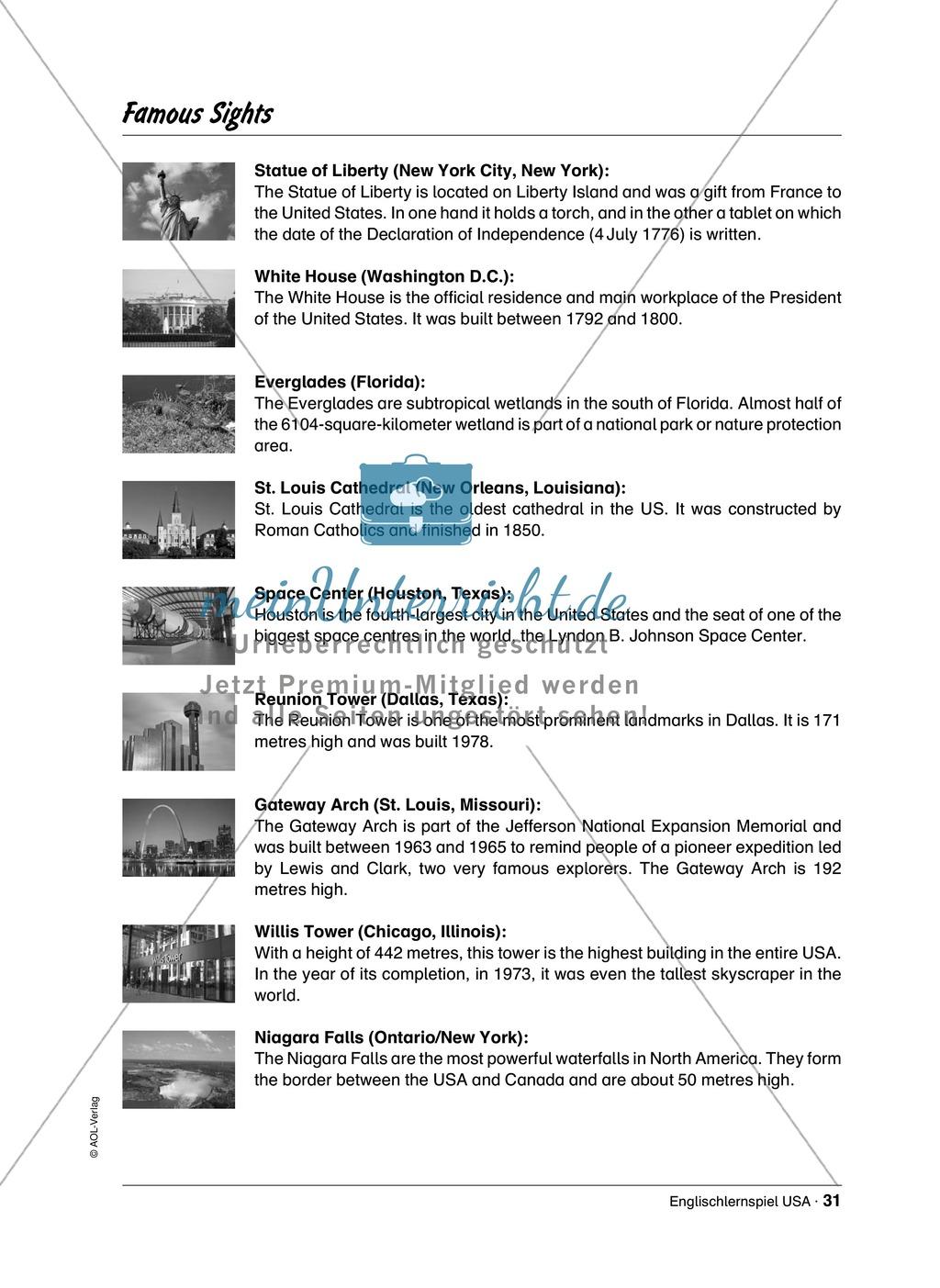 Englischlernspiel USA: Spielkarten + Informationen zu Sehenswürdigkeiten Preview 23