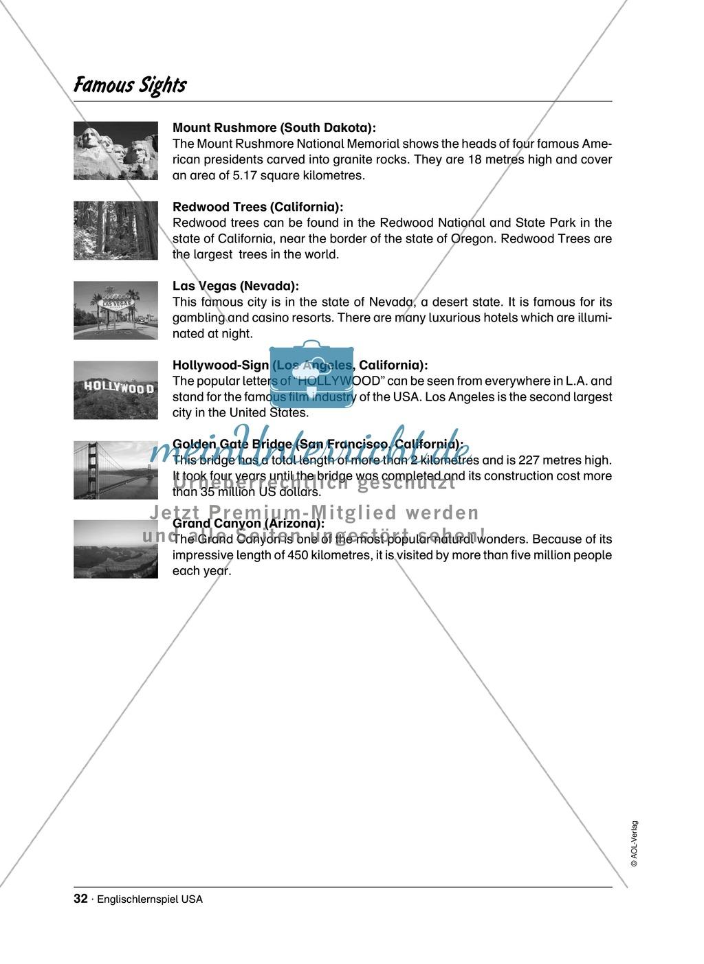 Englischlernspiel USA: Spielkarten + Informationen zu Sehenswürdigkeiten Preview 25