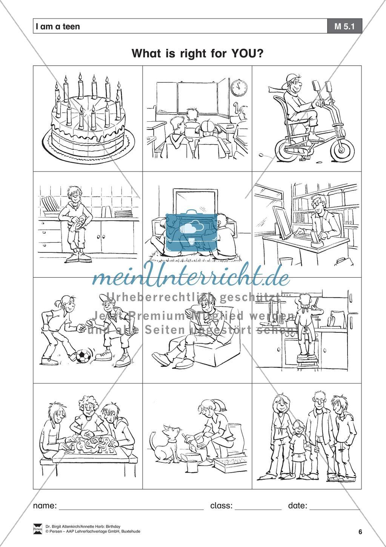 """""""Birthday"""" - Unterrichtseinheit für die Klassen 5-6: Now I am a teen - Arbeitsblätter + Übungen Preview 4"""