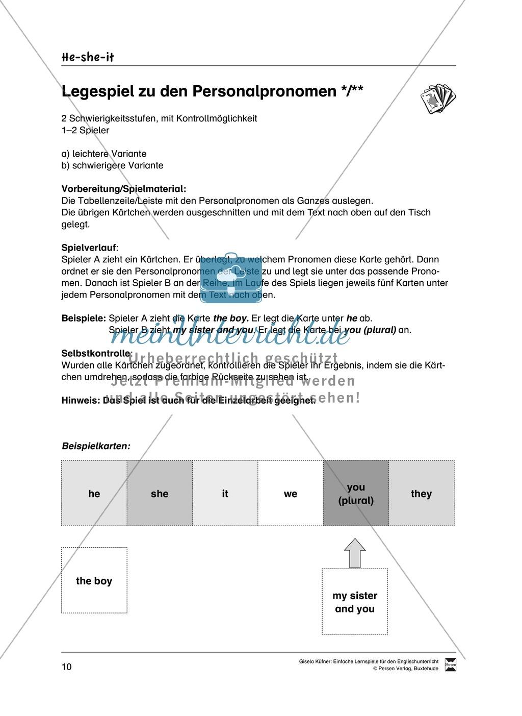 He, she, it - Lernspiele zu den Personalpronomen: Vorlagen + ...