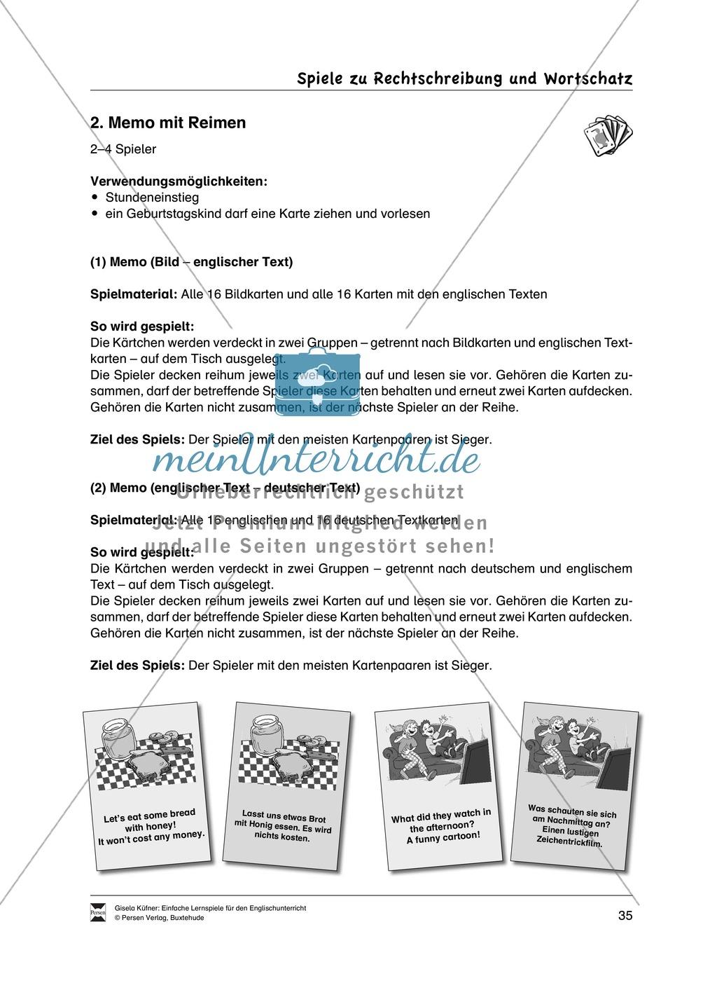 Lernspiele: Wortschatz, Rechtschreibung und Wahrnehmung, unregelmäßige Verben, Mitlautverdopplung, Vokale Preview 11