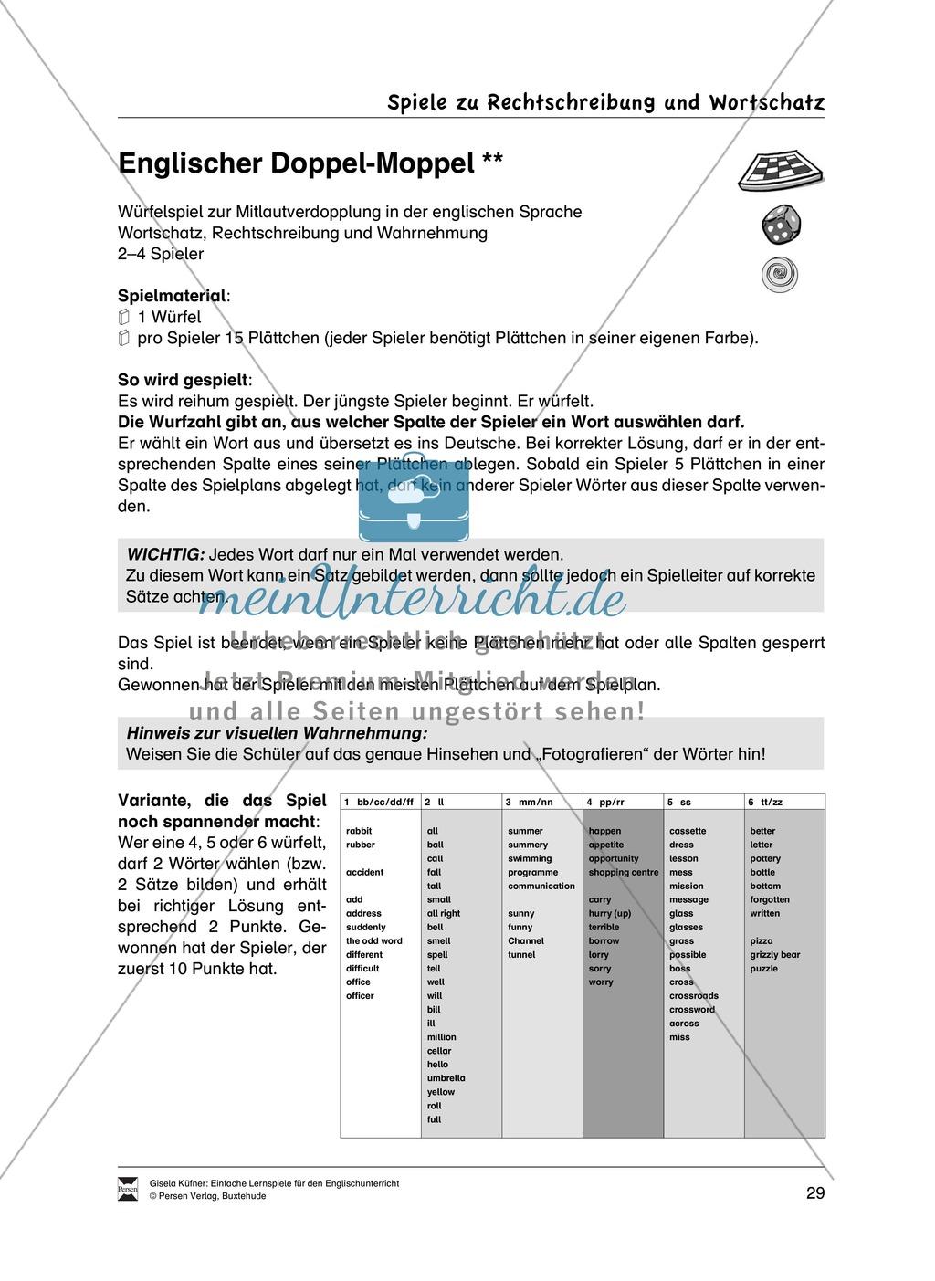 Lernspiele: Wortschatz, Rechtschreibung und Wahrnehmung, unregelmäßige Verben, Mitlautverdopplung, Vokale Preview 5