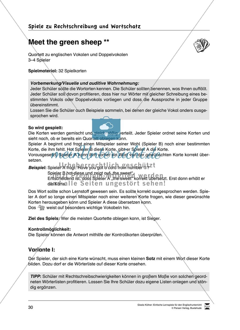 Lernspiele: Wortschatz, Rechtschreibung und Wahrnehmung, unregelmäßige Verben, Mitlautverdopplung, Vokale Preview 6