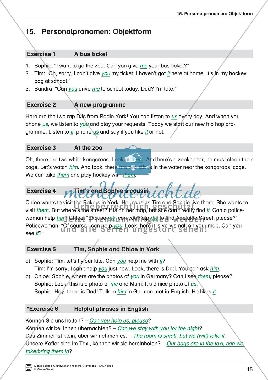 Die Personalpronomen (Objektformen): Erklärung + Beispiele + Übungen Preview 18