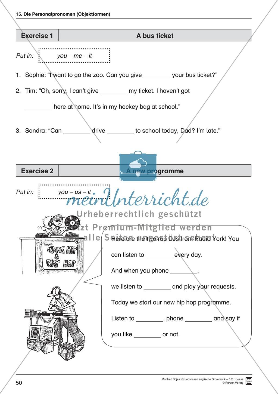 Die Personalpronomen (Objektformen): Erklärung + Beispiele + Übungen Preview 1