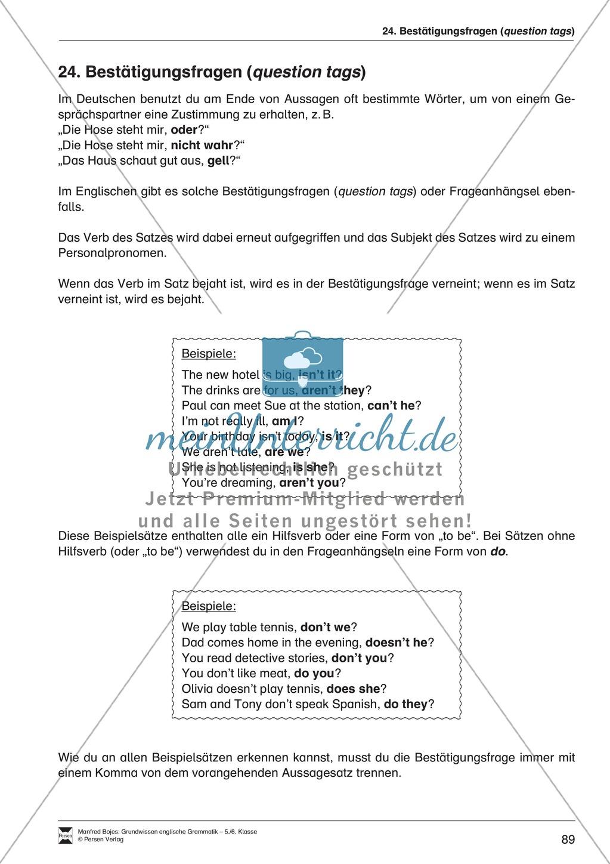 Bestätigungsfragen (question tags): Erklärung + Beispiele + Übungen Preview 0