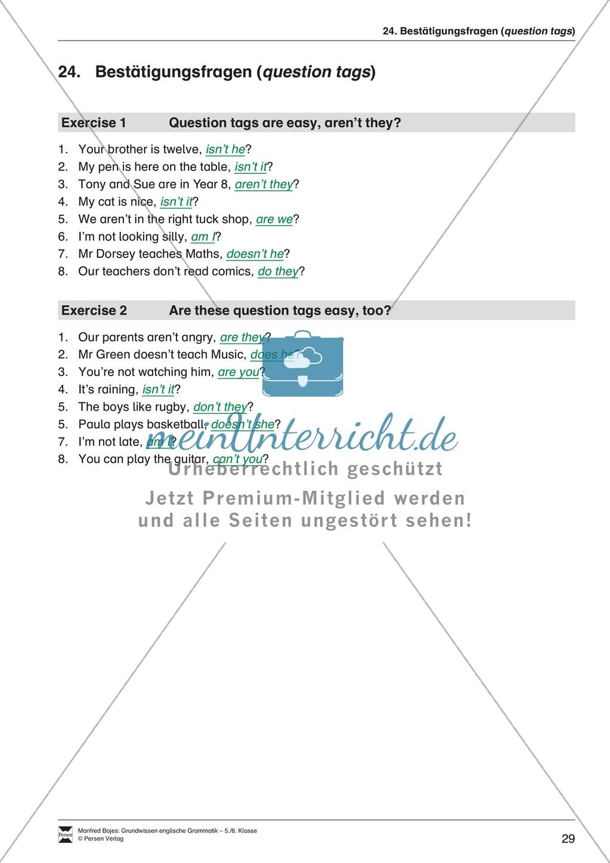 Bestätigungsfragen (question tags): Erklärung + Beispiele + Übungen Preview 30